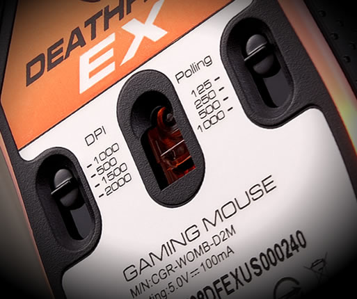 COUGAR DEATHFIRE EX - 2000 DPI High-Precision Gaming Sensor Technology, On-The-Fly DPI and Polling Rate Adjustment