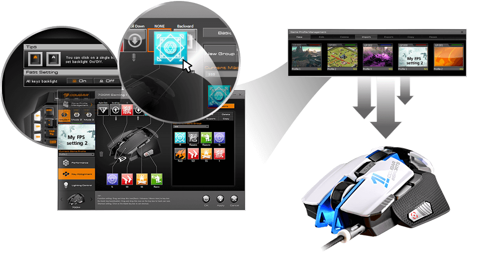 COUGAR 700M eSPORTS - COUGAR UIX™ Device Management System + Internal Memory