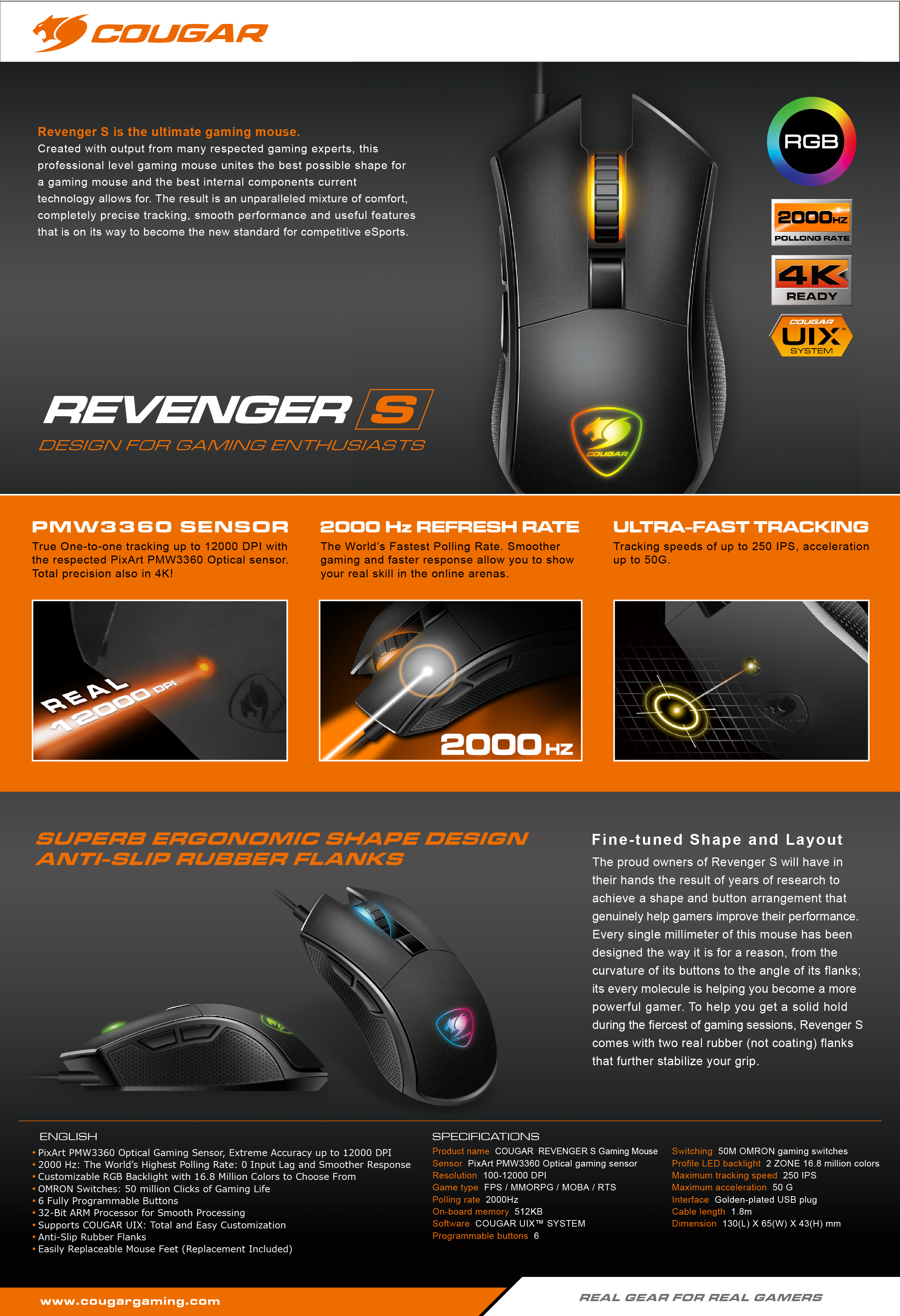 Cougar REVENGER S Wired USB Optical Gaming Mouse w// 12000 DPI