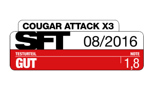 The Cougar Attack X3 review in the German print amagazine SFT shows the Attack X3 is a really nice product.